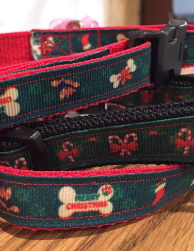 Christmas Dog Collars Custom Embroidered